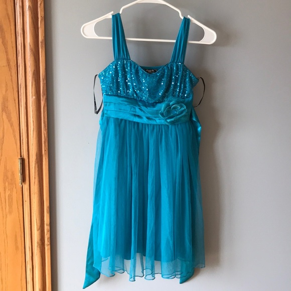 Turquoise Sequin Party Dress